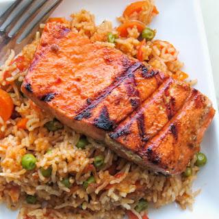 One pot Cameroonian jollof rice with salmon.