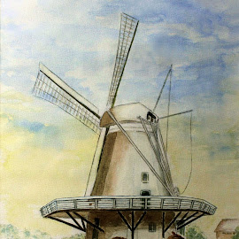 Dutch corn mill build in 1842 by Bob Has - Painting All Painting ( mill, kampen painting, dutch, corn )