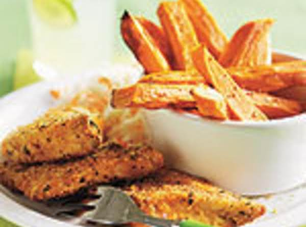 Breaded Fish Fingers With Sweet Potato Oven-fries Recipe