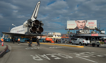 Photo: The space shuttle Endeavour is seen as it traverses through Inglewood, California on Friday, Oct. 2012. Endeavour, built as a replacement for space shuttle Challenger, completed 25 missions, spent 299 days in orbit, and orbited Earth 4,671 times while traveling 122,883,151 miles. Beginning Oct. 30, the shuttle will be on display in the CSC's Samuel Oschin Space Shuttle Endeavour Display Pavilion, embarking on its new mission to commemorate past achievements in space and educate and inspire future generations of explorers. Photo Credit: (NASA/Carla Cioffi)