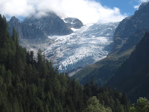Photo: The route not taken (8.7 mi.) crosses the Fenetre d'Arpette, a pass next to the Trient Glacier, and requires a demanding, rocky climb of 4500 ft. followed by a 3900-foot descent. Though touted as one of the most spectacular and wild stretches of the Haute Route, we weren't sure we were up to it.