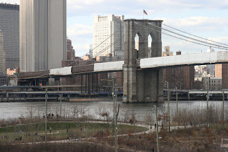 Photo: Looking down at the Brooklyn Bridge Park from the Promenade.
