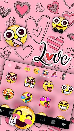 Doodle Pink Love Keyboard Theme 1.0 screenshots 3