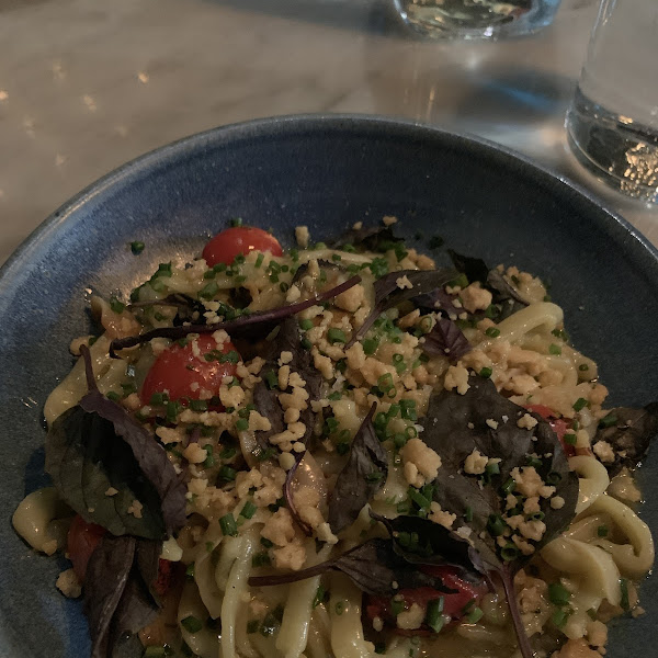 Gluten free Tomato Leaf and Mussel pasta