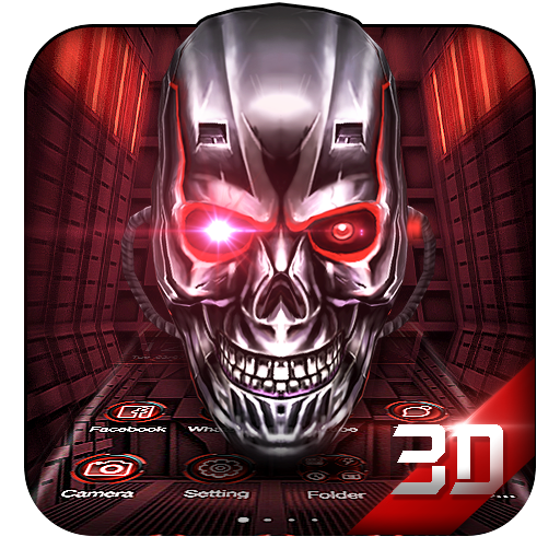 Neon Tech Skull 3D Theme file APK for Gaming PC/PS3/PS4 Smart TV