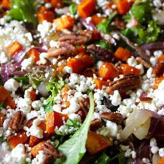 Roasted Butternut Squash, Red Onion, Goat Cheese and Pecan Salad