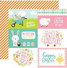 Echo Park Easter Wishes Cardstock 12X12 - 4X6 Journaling Cards UTGÅENDE