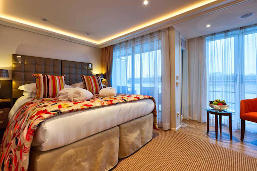 You'll get a comfortable night's sleep in the Twin Balcony Stateroom aboard AmaSerena.