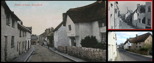 Photo: Chagford, Lower Street - Valentines, pu1913. Looking 'out' of the village.  The b&w card, top right is by Judges n.6766 (the series reached n.7400 in 1921).  The main change is the removal of most of the paint/render to the old house on the left exposing the lovely granite.