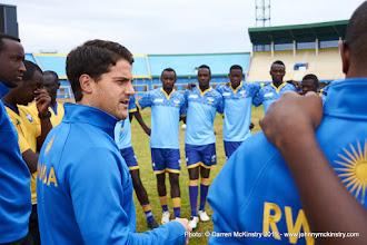 Photo: Coach McKinstry speaks with players during training [Rwanda Training Camp before AFCON2017 Qualifier Vs Ghana on 5 Sep 2015 in Kigali, Rwanda.  Photo © Darren McKinstry 2015]