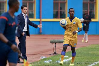 Photo: Coach McKinstry looks on as Michel Rusheshangoga (2) prepares to take a throw-in [Rwanda Vs Ghana AFCON2017 Qualifier, 5 Sep 2015 in Kigali, Rwanda.  Photo © Darren McKinstry 2015]