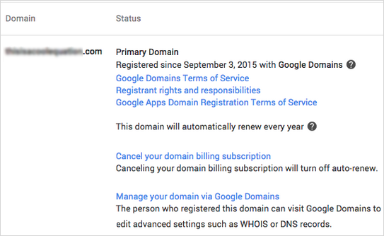 The Google Domain is displayed in the Domains section of the Admin Console.