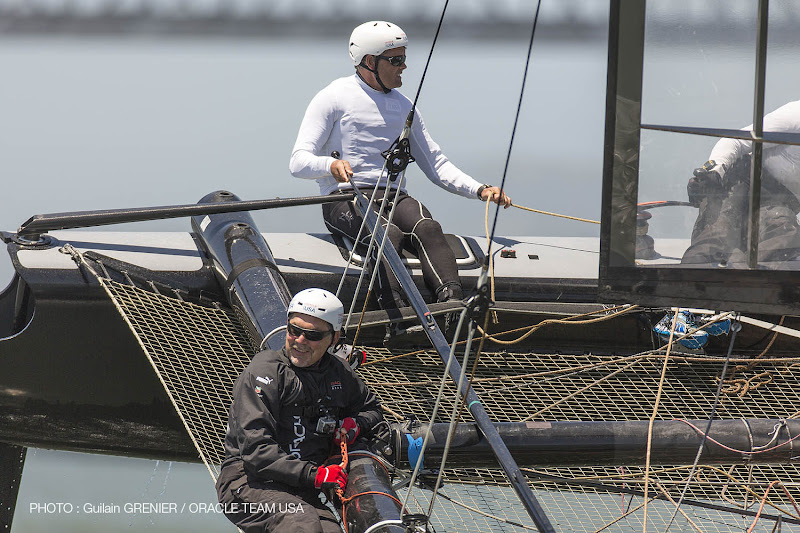Photo: Bruce Bochy (San Francisco Giants baseball team coach) gets a ride with Russell Coutts on in the Bay / ORACLE TEAM USA / San Francisco (USA) / 13-06-2012***Bruce Bochy (San Francisco Giants baseball team coach) gets a ride with Russell Coutts on in the Bay / ORACLE TEAM USA / San Francisco (USA) / 13-06-2012