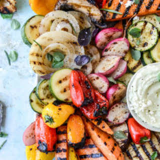 Marinated Grilled Vegetables with Avocado Whipped Feta.