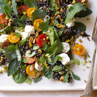 Wild Rice Salad with Baby Greens, Tomatoes, Mozzarella, and Pistachios