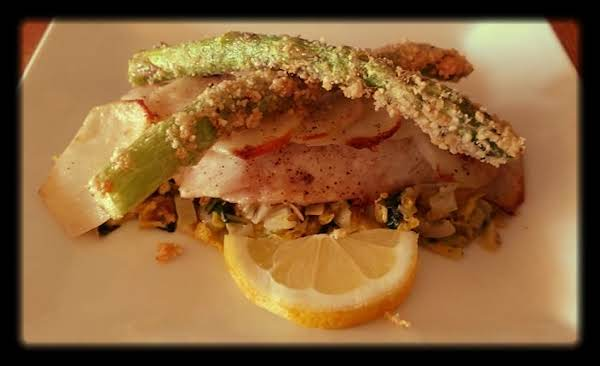 Baked Fish & Potatoes, Cabbage & Fried Asparagus Recipe