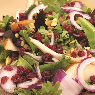Winter Green Salad with Cranberries and Pistachios.