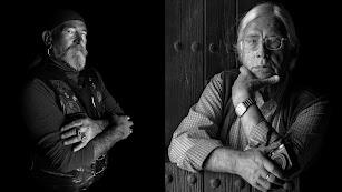 Jobel-Bar de Jo y Carlos Pérez Siquier, dos de los premiados con el Lingote de Oro, vistos por el artista Rodrigo Valero.