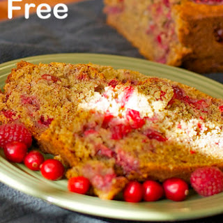Gluten Free Raspberry Banana Bread with Cranberry