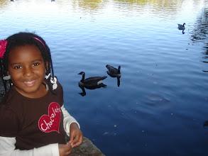 Photo: Kaleya as she feeds the geese