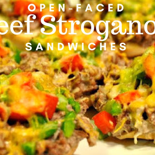 Open-Faced Beef Stroganoff Sandwiches from Gooseberry Patch 101 Soups, Salads & Sandwiches.
