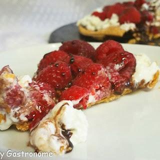 Chocolate and Raspberry Dessert Pizza.