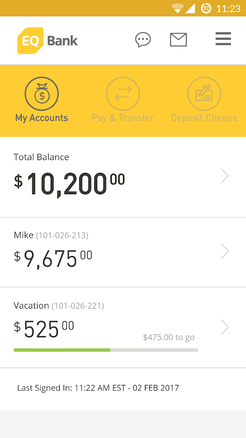 EQ Bank Mobile Banking- screenshot