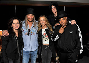 "Photo: DETROIT, MI - JANUARY 15:  (Exclusive Coverage)  Martina McBride, Kid Rock, Sheryl Crow, Peter Wolf and Joseph ""Rev Run"" Simmons backstage at Ford Field on January 15, 2011 in Detroit, Michigan.  (Photo by Kevin Mazur/WireImage)"