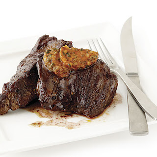 Sear-Roasted Sirloin Tip Steaks with Café de Paris Butter