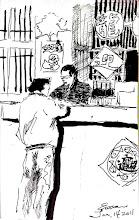 Photo: 坐監好過年2012.01.14鋼筆 為了應景,監獄過年會佈置是沒錯,可也不少人不在外面過年,偏挑這時候進來吃牢飯。 唉!就算有加菜可並不好吃哩!