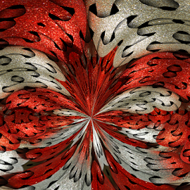 Red Silver Glitter Feathers by Robin Amaral - Illustration Abstract & Patterns ( sparkles, theatrical, fantasy, decorative, silvery, swirls, red, feathers, glitter, silver, shiny, costume, weave, shimmer )