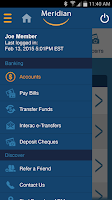Screenshot of Meridian Mobile Banking