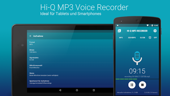 Hi-Q MP3 Recorder: Testversion Screenshot