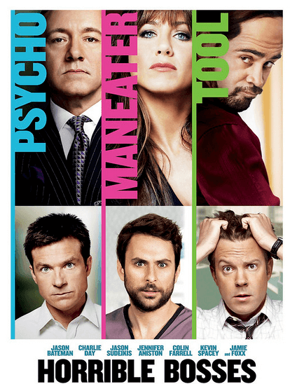 movie poster for horrible bosses with jason bateman and jennifer aniston