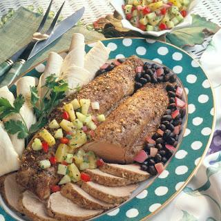 Jerk Pork Tenderloin with Black Beans and Pineapple & Cucumber Salsa.