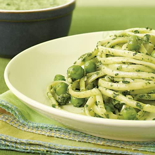 Spinach & Pea Pesto Linguine Recipe