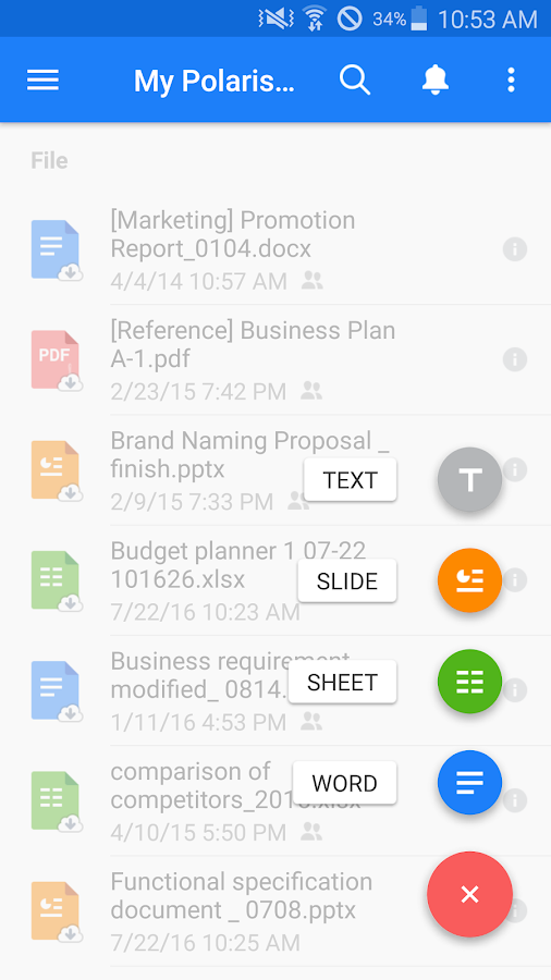 Screenshots of Polaris Office - Word, Docs, Sheets, Slide, PDF for iPhone