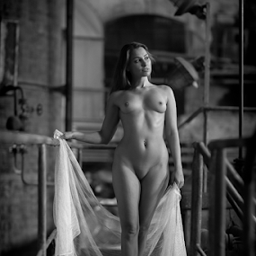 Nude @ factory by Reto Heiz - Nudes & Boudoir Artistic Nude ( nude, black and white, beautiful, factory, female nude )