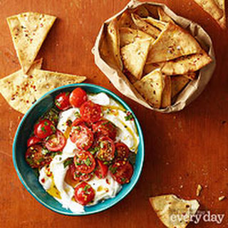 Tomato-Yogurt Dip with Baked Pita Chips.
