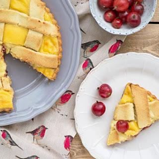 Summer Tart with Red Gooseberry Jam and Custard Cream.