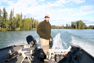 Photo: Nigel Fox of Alaska Drift Away Fishing running up the middle Kenai river for a day of trout fishing.