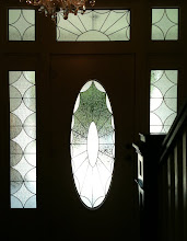 Photo: Crafton House, turn of the century, leaded glass, stained glass, oval door, sidelights, transom, Antique pattern, diamond. Frosted, privacy, chipped