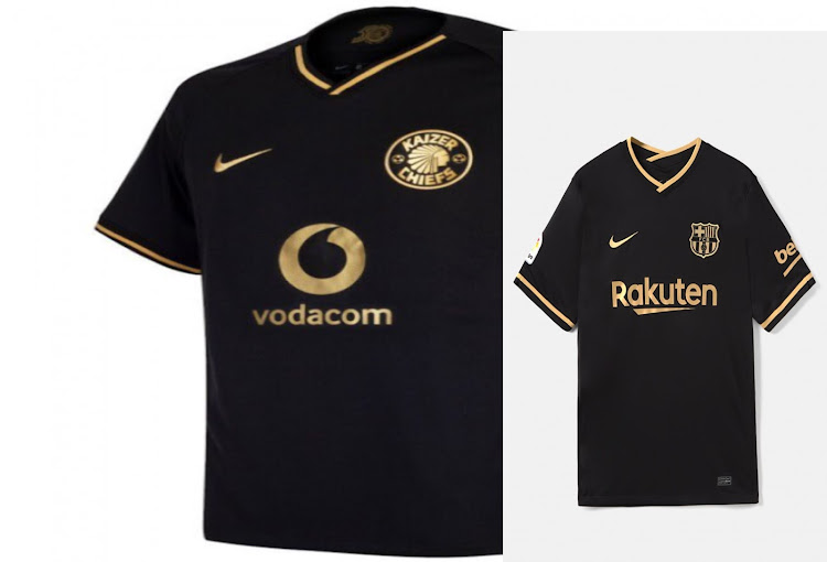Kaizer Chiefs' commemorative 50th anniversary jersey (left) is strikingly similar to Barcelona's new away shirt (right), both produced by Nike.