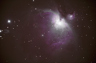 Photo: Here is a stacked/processed version of M42 (Orion Nebula) shot the other night. Only about 15 minutes of light data.  Equipment: Celestron C8@ f6.3 Celestron CGEM mount Orion Autoguider  Stacked in deep sky stacker, levels adjusted, colors tweaked in photoshop.