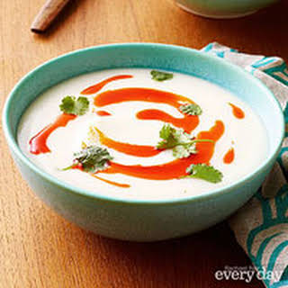 Creamy Cauliflower Soup with Paprika Oil.