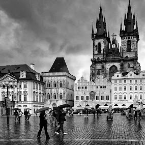 Raining by Jose Maria Vidal Sanz - City,  Street & Park  Street Scenes ( black and white, czech republic, travel, prague, rain )