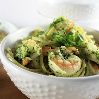 Shrimp Pesto Linguine.