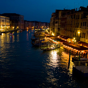 Venice at night by Victor Mukherjee - Landscapes Travel ( water, rialto, houses, europe, boats, reflections, canal, historic, lights, touristic, shops, venice, night, italy,  )