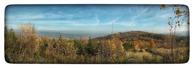Photo: Pohled z vrcholu Oldřichov (652 m.) na Hradní vrch (650 m.) a na cestu z Linhartovy do M.Albrechtice