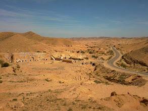 Photo: On the way out of Matmatah towards Douz through the mountainous south of Tunisia